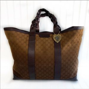 Large Gucci Canvas Tote Brown Leather Trim EUC